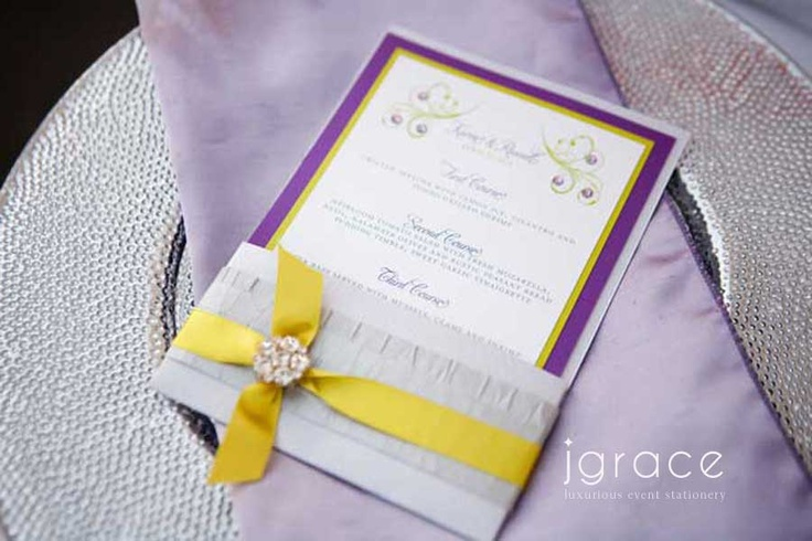 Couture Garden Wedding Menu With Crystal Brooch By J Grace