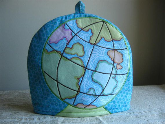 Embroidered Globe Tea Cosy by RichardAndSon on Etsy