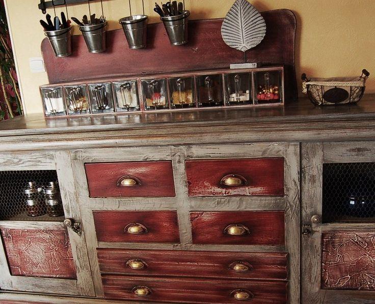 1000 id es sur le th me armoires transform s sur pinterest for Cuisine retro rouge