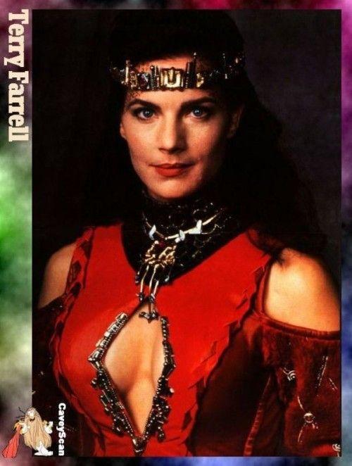 Terry Farrell in her Klingon type wedding dress from the DS9 episode when Jadzia marries Worf
