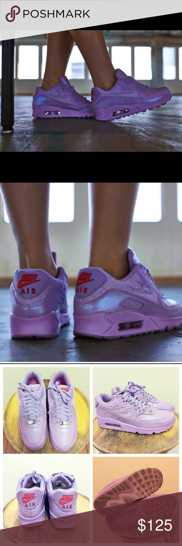 Nike Air Max 90 QS Paris Macaroon Lavender Purple Sold out everywhere except for flight club in LA and Ny. Worn 2 times. Cleaned soles, stuffed paper back inside shoe to keep form and no creases and wrapped in shoe box immediately after wearing. Clean, like new. I take very good care of my sneakers. Paid $280 at flight club in LA. Comes from smoke and pet free home. Nike Shoes Sneakers