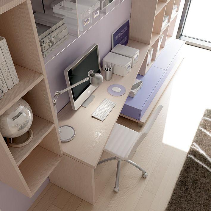 Ampio piano #scrivania circondato dalla libreria #Outline aperta o chiusa da #cassetti o #ante. YC11 catalogo Team for Young www.moretticompact.com