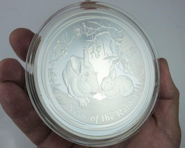ONE KILO AUSTRALIAN LUNAR PROOF 2011 RABBIT COIN rabbit silver bullion coin, lunar rabbit