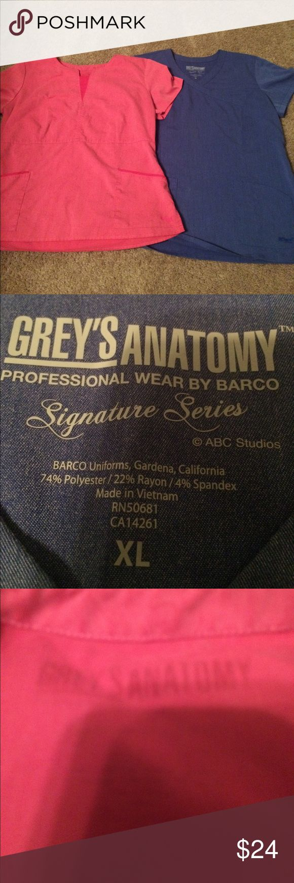 Grey's anatomy 2 scrub tops size extra large Two Grey's Anatomy size extra large scrub tops. See my other scrubs would love to bundle and save you money grey's Anatomy Tops
