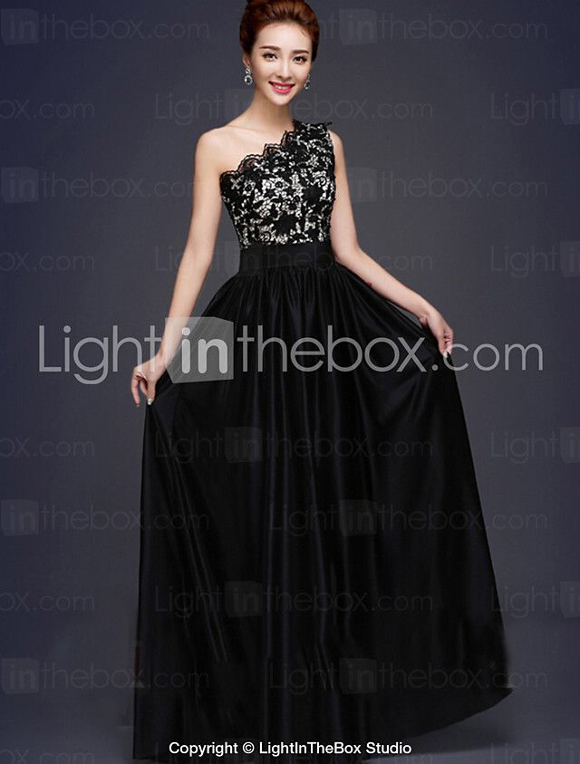 Formal Evening Dress A-line One Shoulder Floor-length Lace / Stretch Satin with 2016 - $69.99