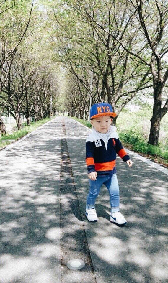 Cute boy on the road