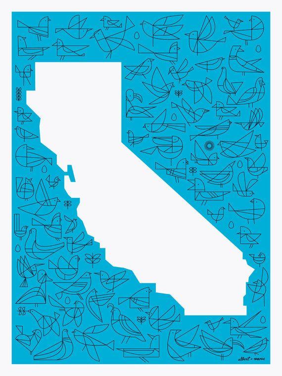 California Flight Poster 18 x 24 by AlbertandMarie on Etsy