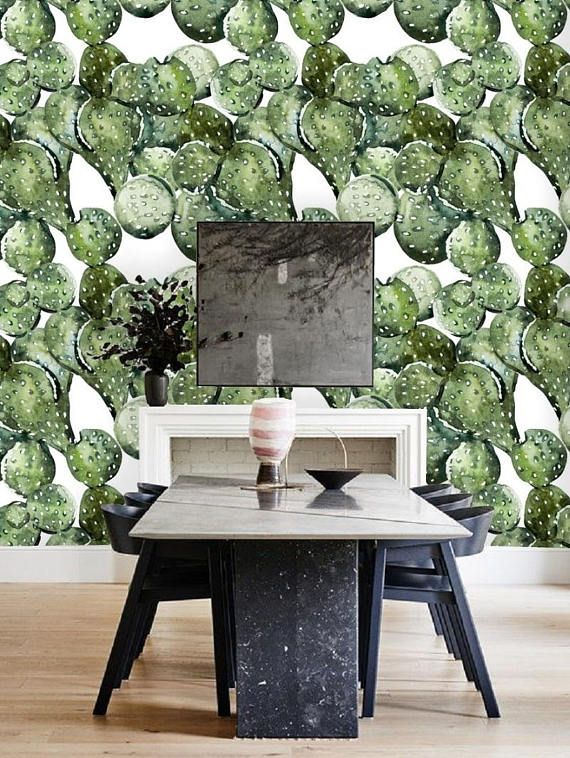 cactus wallpaper removable wallpaper tropical cactus wall