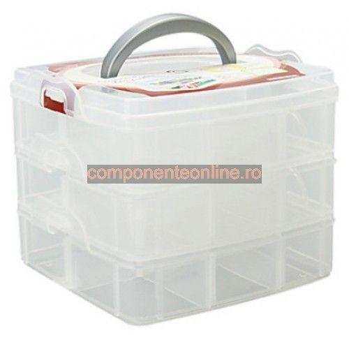 Cutie compartimentata, 3 nivele, cu maner pentru transport - 127844