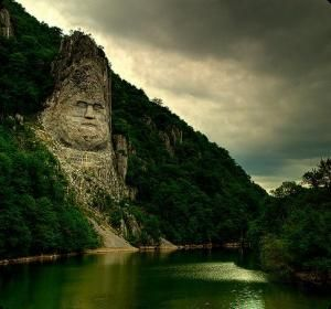 Statue of Decebal on the Danube river