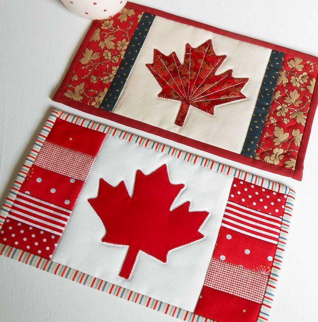 Canadian Flag Maple Mug Rug | von The Patchsmith