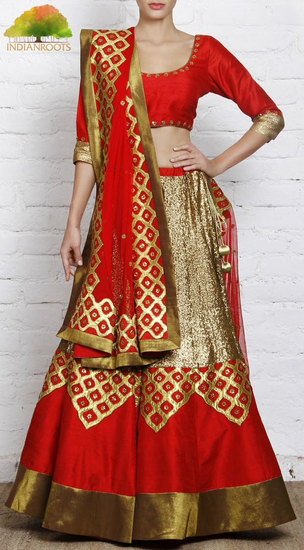 #Red #Raw Silk #Lehenga Set by Priyal Prakash at Indianroots.com