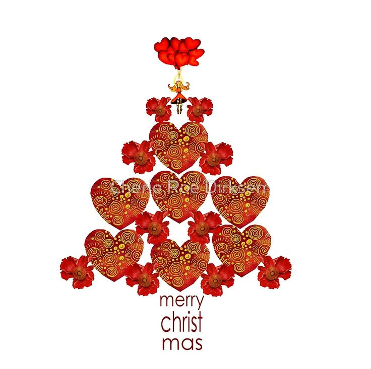 Red Heart and Poppy Christmas Tree designer cards and gifts! #Christmas