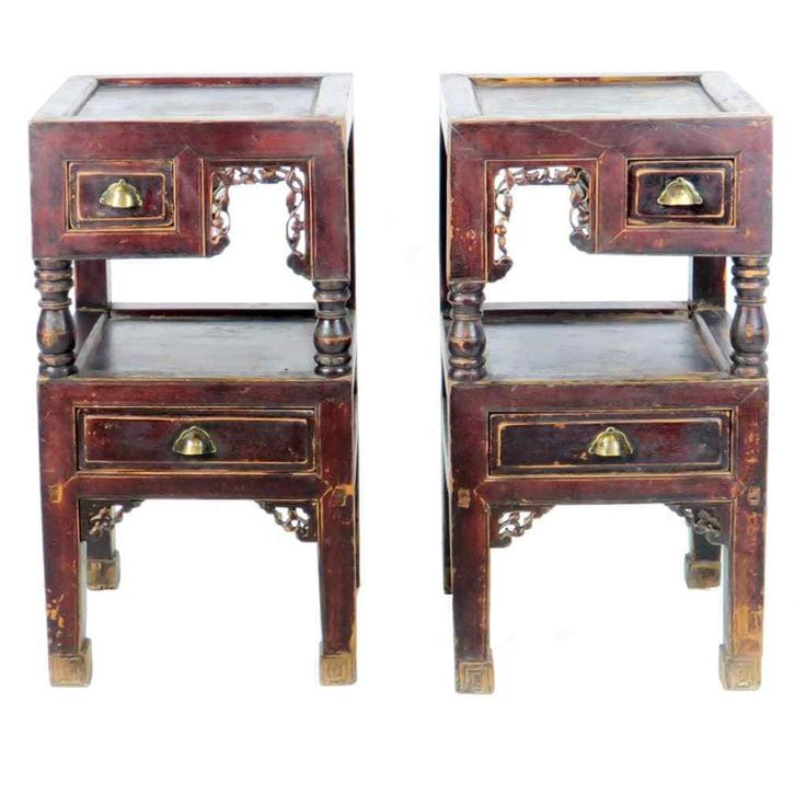 Pair Antique Chinese Tea Bedside End Tables