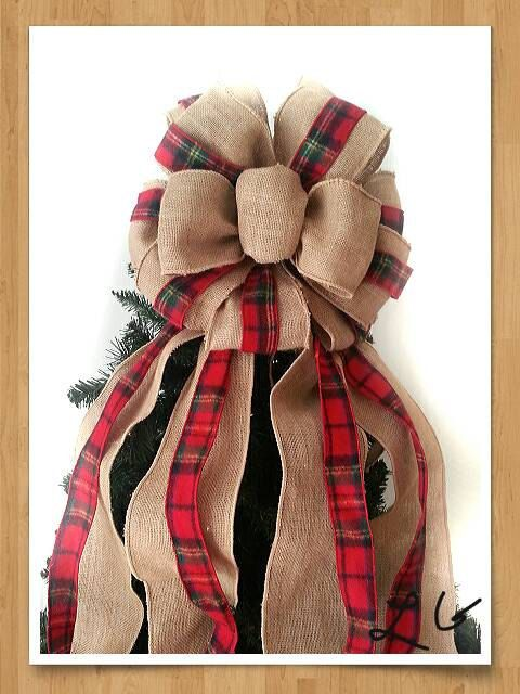 Check out this item in my Etsy shop https://www.etsy.com/listing/254911629/tree-topper-bow-burlap-red-flannel-plaid