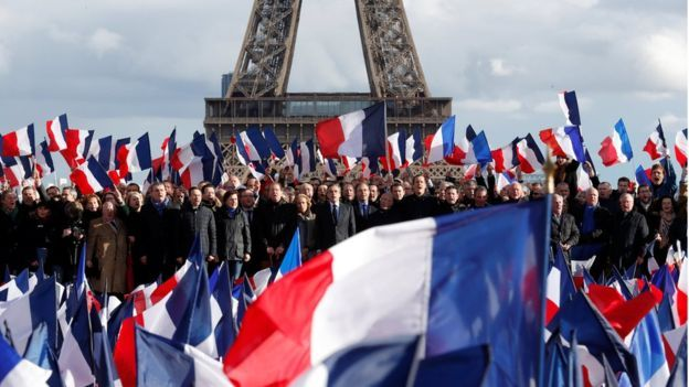 Francois Fillon, former French prime minister, member of The Republicans political party and 2017 presidential election candidate of the French centre-right, attends a meeting at the Trocadero square across from the Eiffel Tower in Paris, France, March 5, 2017
