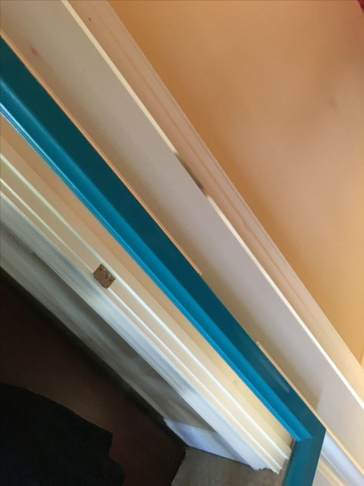 Doorframe of white with blue full length mirror. Aesthetic angles. Photo credit to @questfordaring. It's my closet door