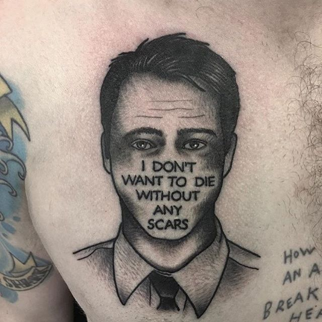 Fight club tattoo by @jeremy_d_  #fightclub #edwardnorton #bradpitt #tylerdurden #marlasinger #projectmayhem #davidfincher #chuckpalahniuk #movie #film #cinema #cult #scene #tattoo #art #quote #cit #bw