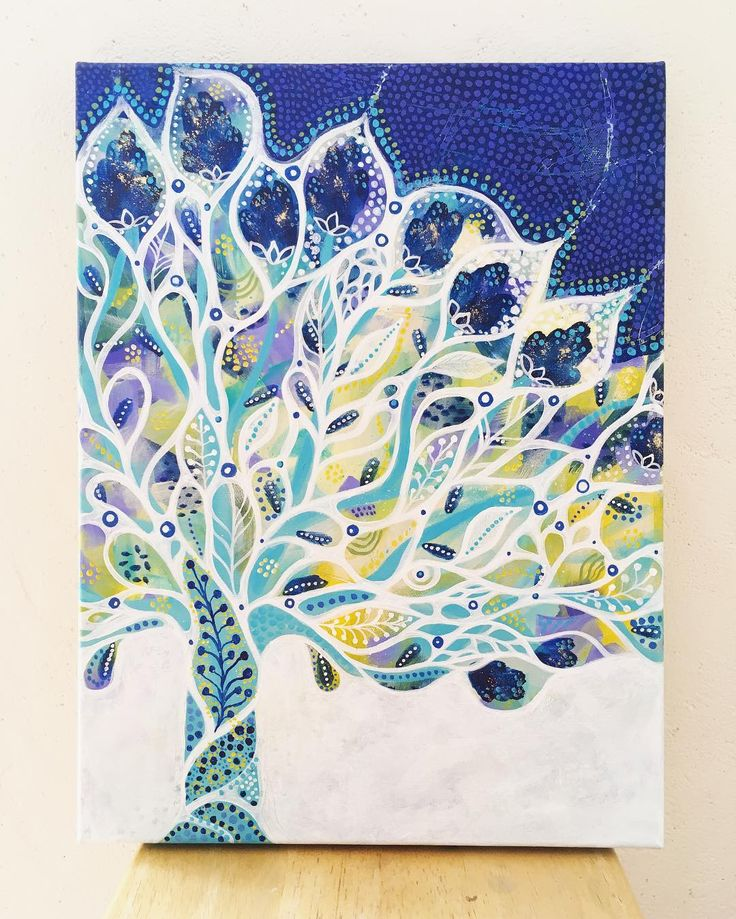 """Grandir en peignant  Travailler sur soi en créant  Allier #art #developpementpersonnel et #spiritualité  L'art est une richesse... À consommer sans modération  """"L'arbre turquoise"""" acrylique sur toile  40 x 30 cm  disponible sur demande"""