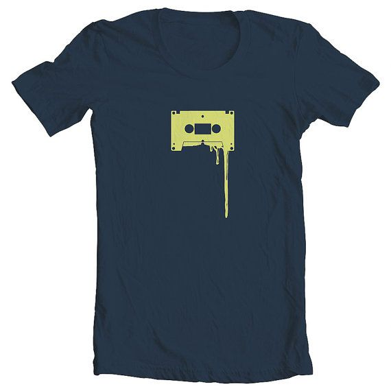 Cassette T-shirt Lime Green on Navy Blue by ClothMothTshirts