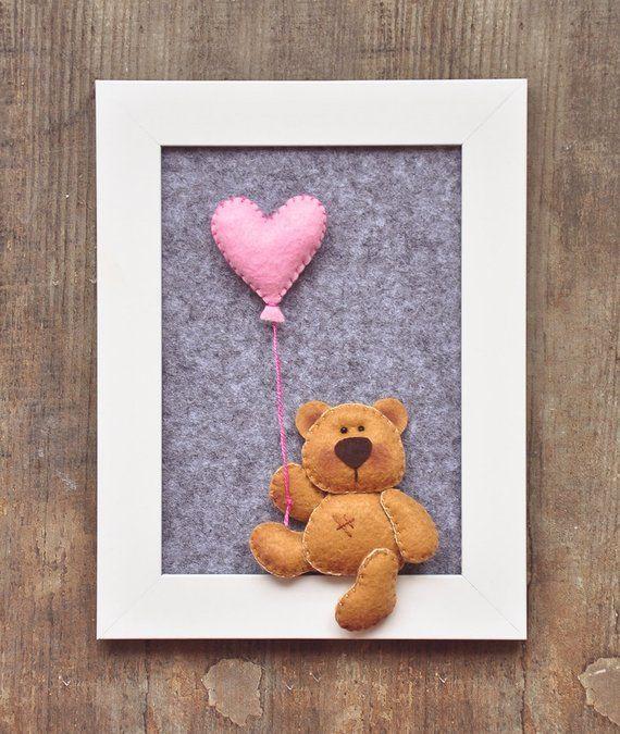 Teddy Bär, Kinderzimmer, Kinderzimmer, Kind Raumdekor, gerahmt Teddy, 3d Bild, Baby-Dusche-Geschenk, fertig zum Aufhängen, Baby-Mädchen-junge-Geschenk