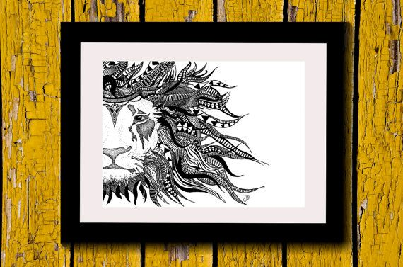Wall Art, Drawing, Illustration, Zentangle Inspired, Patterns, Art, Print, Home Decor, Modern, Creative, Gift Idea, Lion, King, Jungle