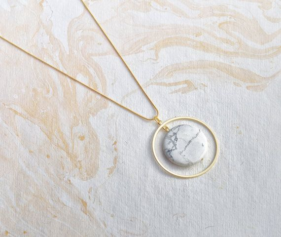 Orbit Marble Geometric Necklace Large Marble and Gold Plated Circle on Snake Chain Necklace Modern Minimal This unique necklace is composed of