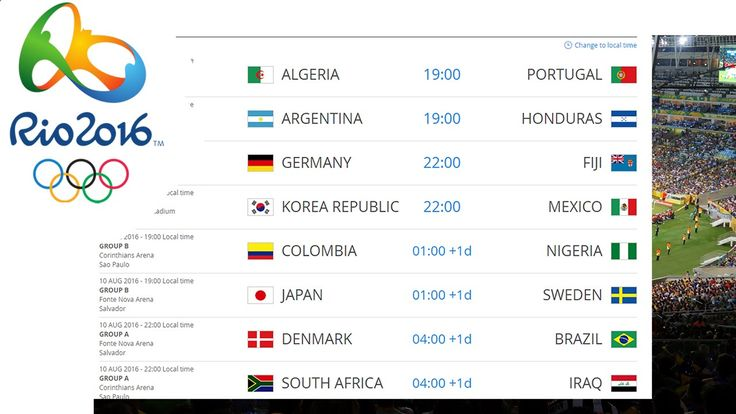 Football / Soccer Match Schedule | Rio 2016 Olympic Games
