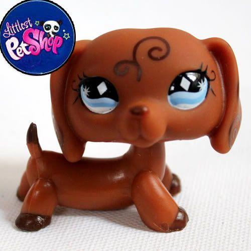 littlest pet shop lps brown dachshund rare dog free