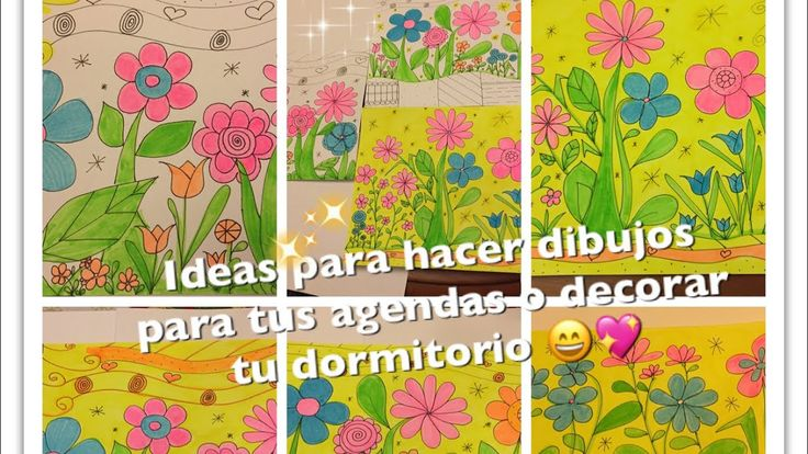 Dibujos con marcador indeleble y fibrones resaltadores 😍😍 - YouTube