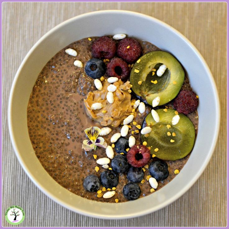 Chocolate and peanut butter chia pudding recipe.
