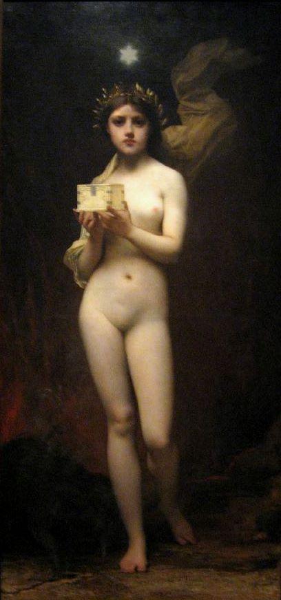 Pandora. Jules Joseph Lefebvre (1872) Museo Nacional de Bellas Artes, Buenos Aires