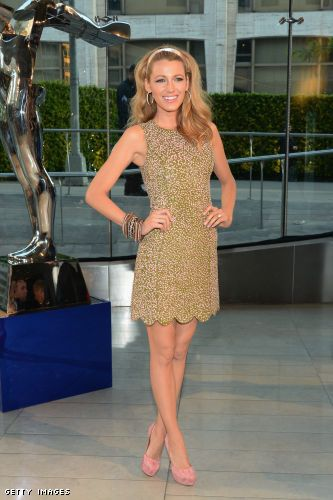 Blake Lively in a Michael Kors dress and Casadei pumps