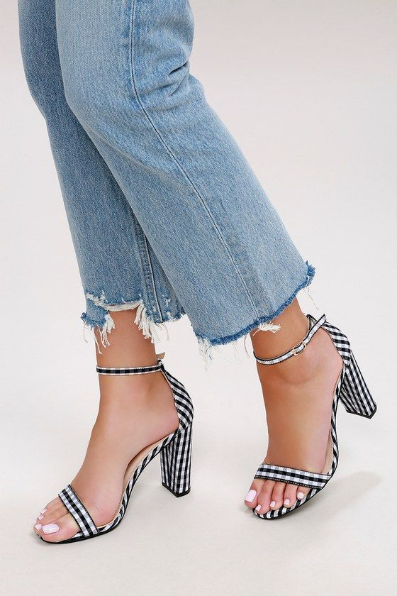 a70591bc33a7 Taylor Black Gingham Ankle Strap Heels 1