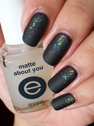 Matte Top Coat: Nails Style, Mattenails, Nails Art, Nailpolish, Black Nails, Glitter Nails, Matte Black, Fingers Nails, Matte Nails Polish