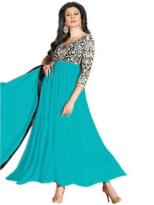 Embroidery Work Simple Sky Blue Anarkali Suits Anarkalis on Shimply.com