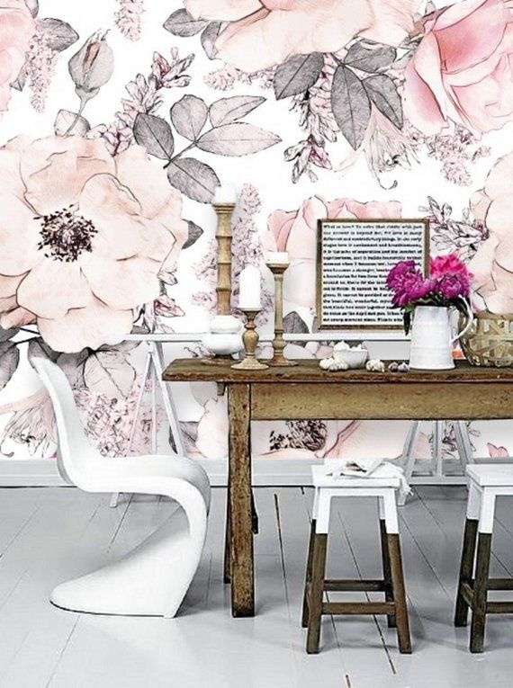 Blush Pink Flower Wallpaper Peel Stick Mural Remove Floral Etsy Nursery Wall Decor Pink Flowers Wallpaper Patterned Paint Rollers