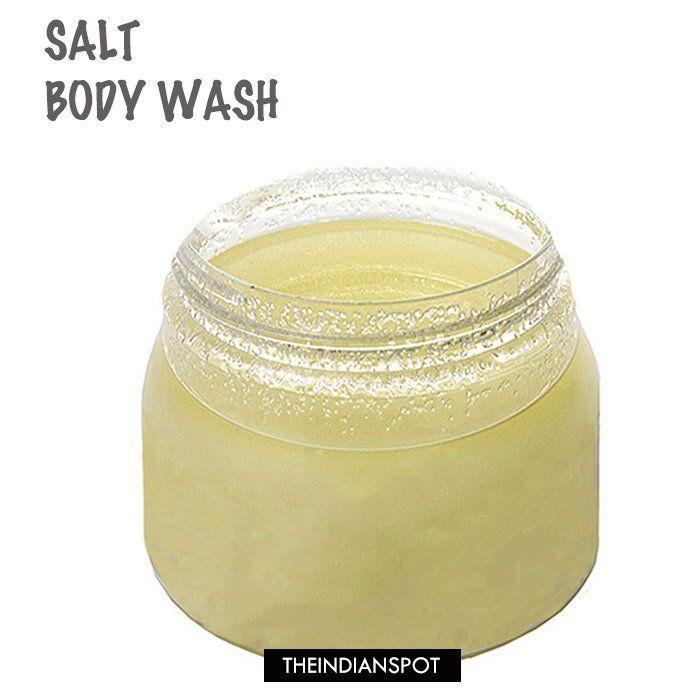 At Home Skin Polish Treatment with DIY salt and sugar body wash