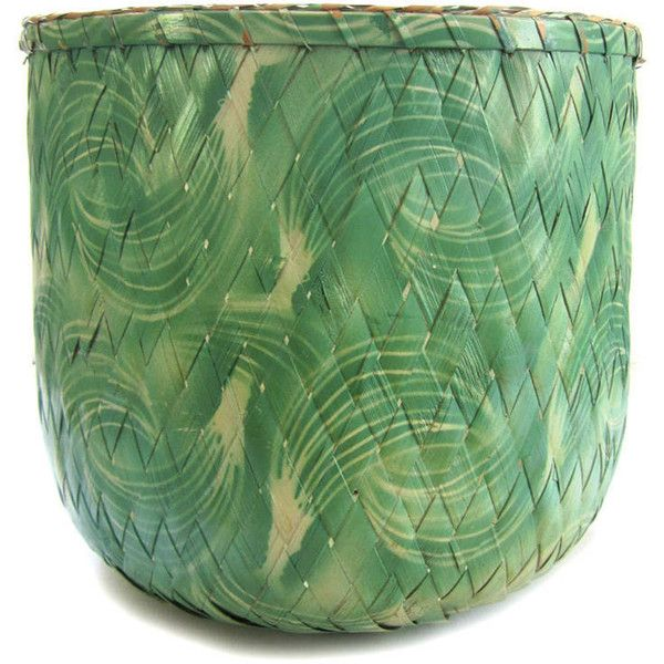 Shafford Bamboo Basket Handmade Tropical Basket or Planter ($42) ❤ liked on Polyvore featuring home, home decor, small item storage, tropical planters, bamboo waste basket, handmade baskets, bamboo planter and bamboo basket