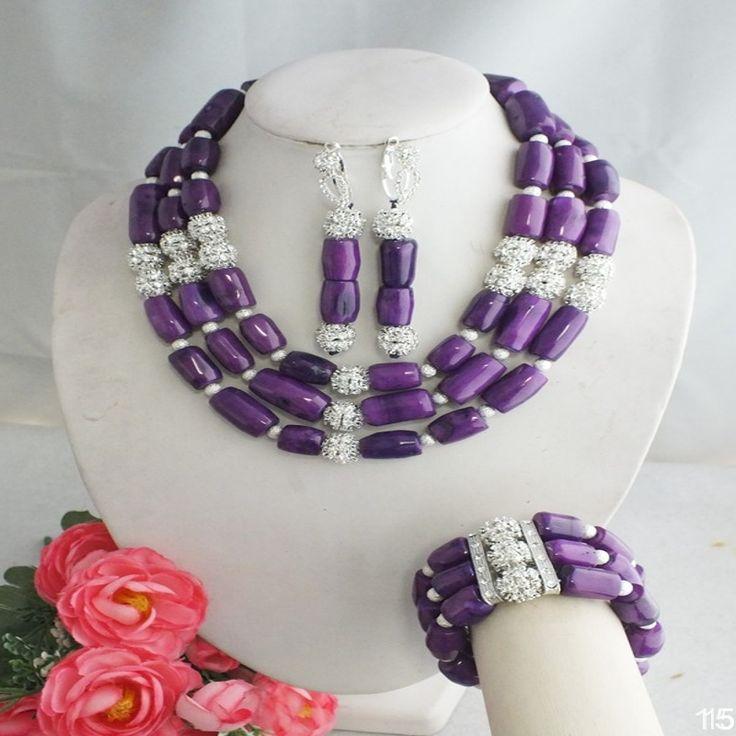 Cheap Freeshipping!!!  A 4983 ultima moda viola africani beads monili di nozze, Compro Qualità Gioielli Kit direttamente da fornitori della Cina: