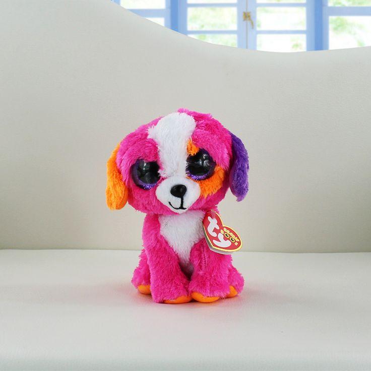 Ty Beanie Boos Plush Toys Beanie Babies Big Eyes Precious Pippie White Dog Lavender Purple Lamb Glamour Giraffe Kawaii Baby Toys