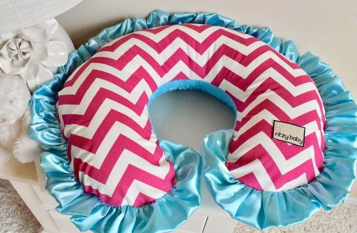 Nursing Pillow Cover - Hot Pink Chevron