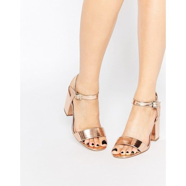 ASOS HOLLOWAY Wide Fit Heeled Sandals ($65) ❤ liked on Polyvore featuring shoes, sandals, beige, high heel sandals, wide sandals, beige shoes, open toe sandals and metallic sandals