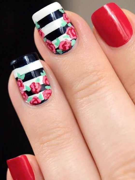 decorado de uñas con rosas