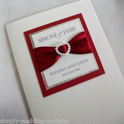 1 X Sample Pearl Heart Handmade Wedding Invitation