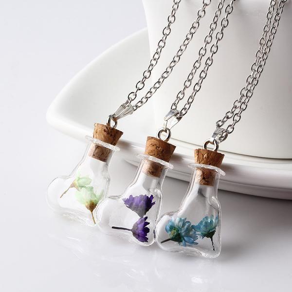 CL DRIED FLOWER wish glass cork pendant