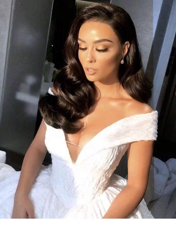 Over the shoulder beautiful wedding dress   Inspiring Ladies