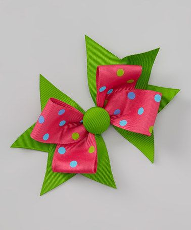 Take a look at this Pink Polka Dot Button Bow Clip by Picture Perfect Hair Bows on #zulily today!