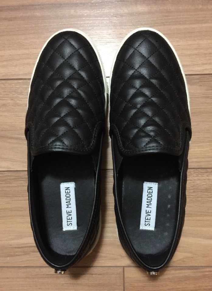 STEVE MADDEN BLACK QUILTED SLIPON CASUAL WOMENS ECENTRCQ SHOES RUBBER SOLE 8.5  | eBay