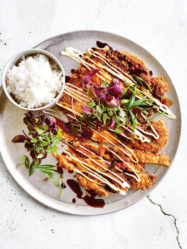 wasabi and sesame chicken schnitzel | donna hay